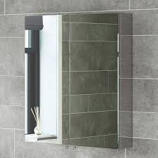 croydex bathroom cabinet:  x  stainless steel bathroom mirror cabinet modern double door storage unit
