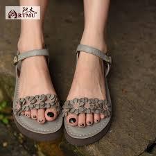 <b>Artmu Original</b> Summer <b>Flowers</b> Leather Sandals Comfortable Flat ...
