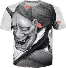 <b>Japanese Traditional</b> Art Oni Demon <b>Geisha</b> Girl <b>T-Shirt</b> Tattoo ...