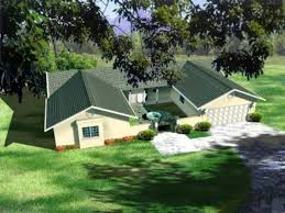 U shaped Ranch Houses   Houseplans comRanch Exterior   Front Elevation Plan       Houseplans com