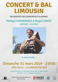 Concert Bal Limousin Salle René Bazin La Garnache (85)  dimanche 31 mars 2019 - Unidivers