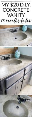 bathroom vanities tops choices choosing countertops: liked on pinterest learn how our diy concrete vanity is holding up  months after completion diy concrete counter top diy concrete sink