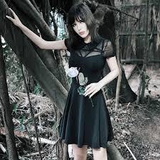 EVERAFTER Black Vintage Gothic Dress <b>Women Turndown collar</b> ...