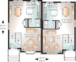Attractive Two Family House Plan   DR   CAD Available    Floor Plan