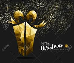merry christmas and happy new year fancy gold gift box in hipster merry christmas and happy new year fancy gold gift box in hipster triangle low poly style