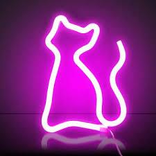 XIYUNTE Pink <b>Cat Neon</b> Light Sign Led <b>Cat</b> Light <b>Neon</b> Wall Light ...
