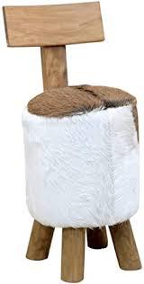 vidaXL <b>Solid Teak</b> Wood <b>Stool Brown</b> Wooden <b>Stool</b> Real Leather ...