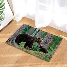 Wild <b>Animal</b> Bath Rugs Springtime Forest Brown <b>Bear Family</b> ...