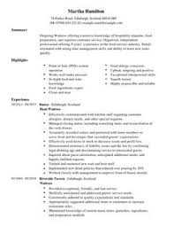 cover letter resume examples for waitress resume examples for     Hospitality CV templates