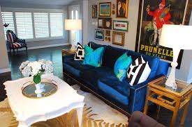 blue sofas living room: peacock blue sofa living room eclectic with black and white dark