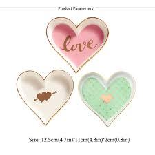 3PCS Small Heart Shape Porcelain Plate Handpainted Saucer ...