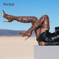 <b>Perixir Thigh High Over</b> the Knee Boots Snakeskin Pointed Toe | eBay