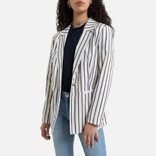 Полосатый пиджак <b>средней</b> длины белая полоска Only (онли ...