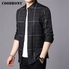 <b>COODRONY</b> 2019 Plaid <b>Long Sleeve</b> Shirt for Men