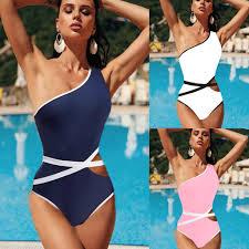 One Shoulder <b>Striped Patchwork Women</b> One Piece <b>Swimsuits</b> ...