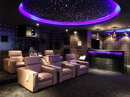m amazing home theater design ideas with purple ceiling light design combined impressive wall light mounted on the wall and cream fabric upholstered black fabric lighting
