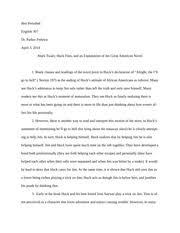 Huckleberry finn thesis