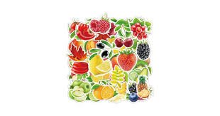 Jasion <b>100</b>-<b>Pcs</b> Watercolour Fruits and Vegetables Stickers <b>PVC</b> ...