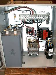 rotary phase converter designs and plans the 3rd is a 7 5hp helped a friend build has front panel start stop switches w internal contactor this one uses a split primary 240 24v transformer