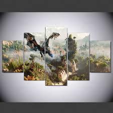 <b>YSDAFEN 5 Panel</b> Horizon Nol Fajar Permainan Kanvas Dicetak ...