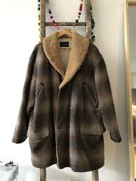 GOLDEN BEAR WOOL Mackinaw SHEARLING SHAWL PACKER ...