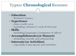 résumés  your road to the future  average time spent reading    types  chronological resume education  related courses experience  dates easily seen  including volunteer