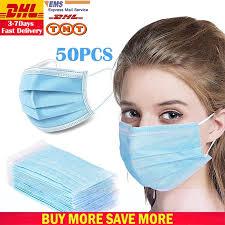 <b>DHL TNT</b> 50pcs Face Disposable mouth mask 3 Layer Cotton Dust ...