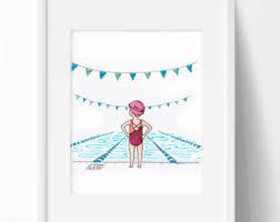 Girl <b>swim art</b> | Etsy