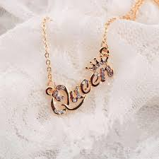 <b>Luxury Gold</b> Color Queen Crown Chain Necklace Zircon Crystal ...