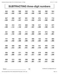 Grade 4 - Math Worksheets (Vertical Subtraction)math worksheet. Â«