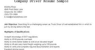 driver resumes  company driver resume sample