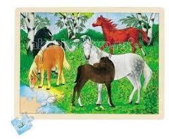 <b>Деревянная игрушка Goki Пазл</b> Ферма пони 70 деталей ...