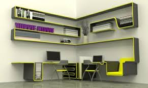 cool modern home office decor on a budget featuring black and yellow colored wall mounted bookcase best office decorating ideas