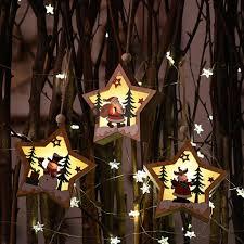 LED light <b>Christmas Tree Star Wooden Pendants</b> Ornaments <b>Xmas</b> ...