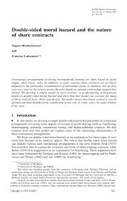 <b>Double</b>-<b>Sided</b> Moral Hazard and the <b>Nature</b> of Share Contracts