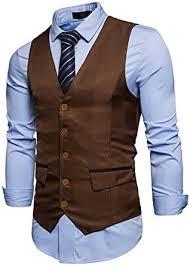 <b>Susan1999 Men</b> Casual Suit Vest Waistcoat <b>Solid Color</b> Sleeveless ...