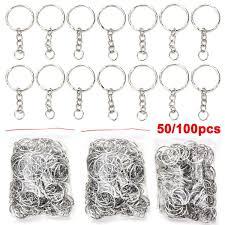 50pcs/ <b>100pcs</b> DIY Keyring <b>Keychain Split</b> Ring with Short Chain ...