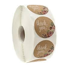 <b>1-Inch 500PCS</b>/Roll Floral <b>Thank</b> You Stickers Natural Brown Kraft ...