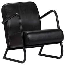 vidaXL <b>Relax Armchair Black Real</b> Leather– House of Isabella AU