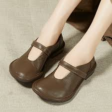 <b>2019 VALLU Women</b> Shoes Handmade Genuine Leather Round ...