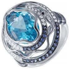 JV <b>Кольцо с топазом</b>, <b>сапфирами</b> и бриллиантами из белого ...