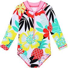 HUAANIUE Girls UPF 50+ UV <b>One Piece Swimwear Kids</b> Bodysuit ...