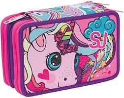 Sj Gang - Sj Girl <b>Animals</b> Pencil Case <b>3</b> Zip <b>Complete</b> with ...