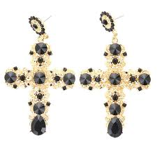 Винтажные черные Кристальные <b>серьги</b>-капли с крестиком для ...