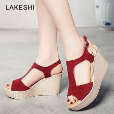 <b>2019</b> Casual <b>Women</b> Sandals Creepers Wedge Sandals Flat ...