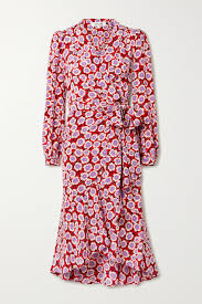 Crimson Carla Two asymmetric <b>floral</b>-print silk crepe de chine wrap ...