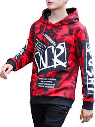 Men's Hoodie Fashion Color Block <b>Camouflage Patchwork Letter</b> ...