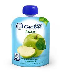 Купить <b>Пюре фруктовое GERBER</b> Яблоко, 90г в торговых ...
