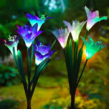 Multi-Color Artificial <b>Lily</b> Solar Power LED Garden Lawn Light Yard ...