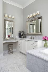 headboard with mirror and lights bathroom transitional with make up area beveled mirror bathroom makeup lighting
